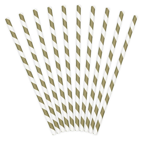 Gold - White Paper Straws (10 pcs)