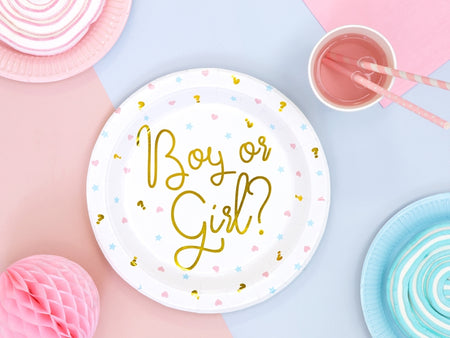 Plates 'Boy or Girl' for Baby Shower (6 pcs)