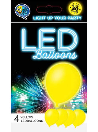 Yellow LED Balloons (4 pcs)