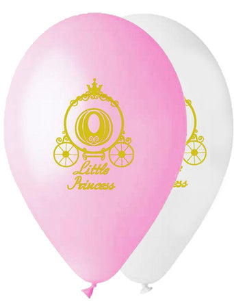 13'' Printed gold Princess carriage Latex Balloon (25 pcs)