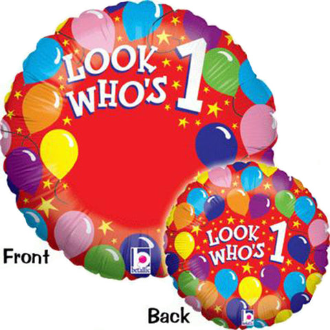 21'' Red 'Looks who's 1' Photo Foil Balloon