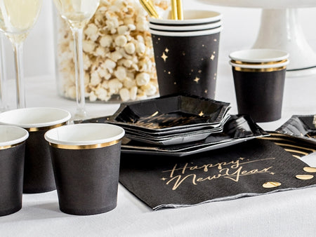 Black with gold small paper Cup (6 pcs)