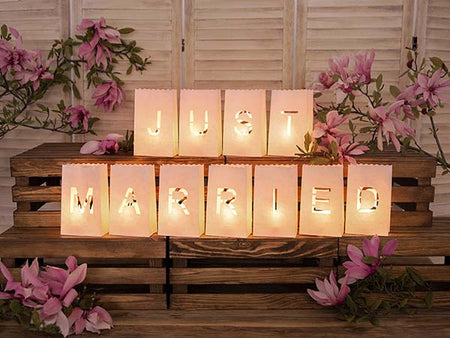 "Paper Latern Candle bag ""Just Married"" (11 pcs)"