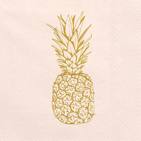 Pink with gold Pineapple Napkins (20 pcs)