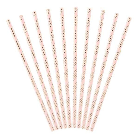 Light pink- Glod Paper Straws (10 pcs)