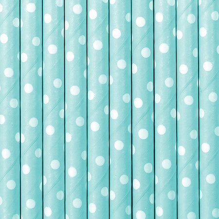 Light Blue polka dots Paper Straws (10 pcs)