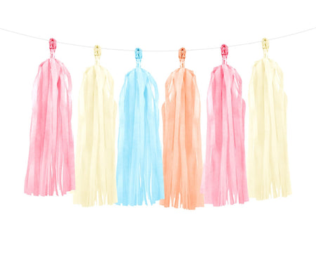 Tissue Paper tassel garland in 3 colors (12 pcs)