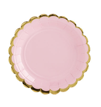 Powder Pink with gold Plates (6 pcs)