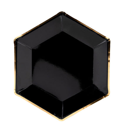 Black with gold Plates (6 pcs)