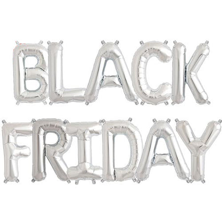 "16'' Silver ""BLACK FRIDAY"" foil balloons (11 pcs)"