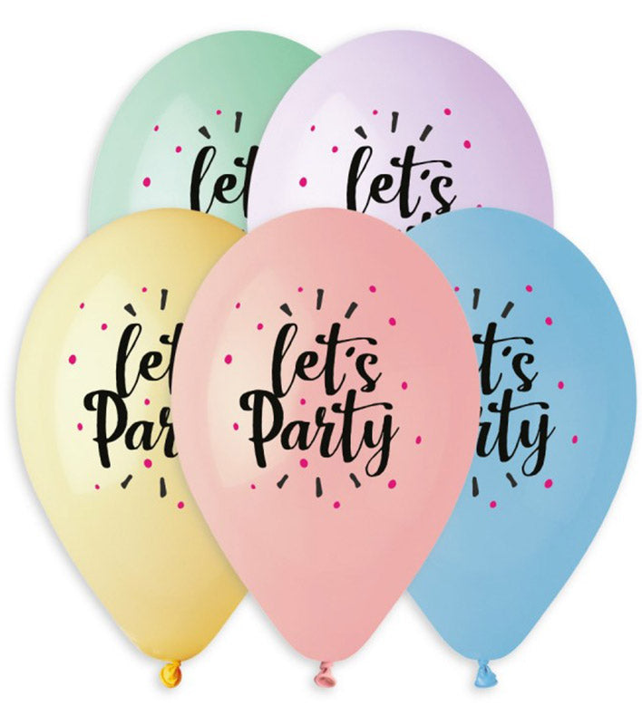 13'' Printed 'Let's Party' pastel Latex Balloon (25 pcs)