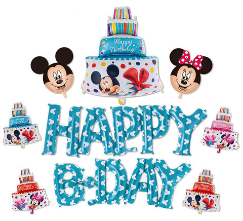 Set ''Happy B-day'' Blue Mickey Mouse Foil Balloon (9 pcs)