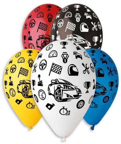 13'' Printed Cars in 5 colors Latex Balloon (25 pcs)