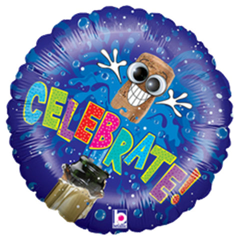 21'' Celebrate with wiggle eyes Foil Balloon