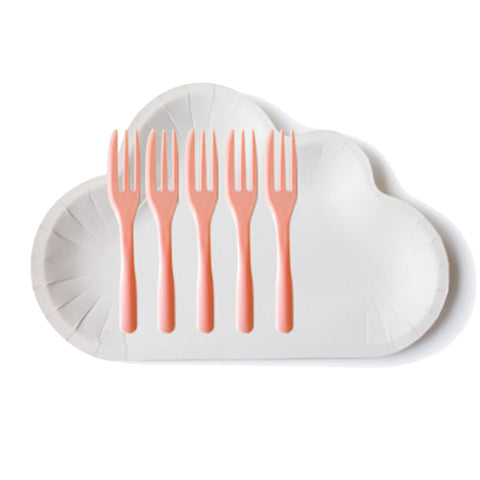 Set Cloud Plate with forks in peach color (10 pcs)