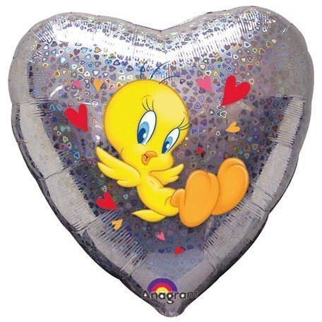18''  Tweety Love Holographic Heart Foil Balloon