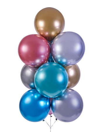 19'' Shiny Silver Latex Balloon (25 pieces)