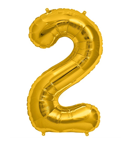 16'' Gold number '2' Foil Balloon