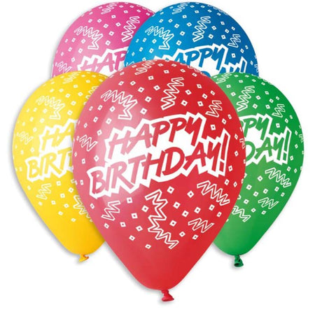 13'' Printed 'Happy Birthday' in 5 colours Latex Balloon (25 pcs)