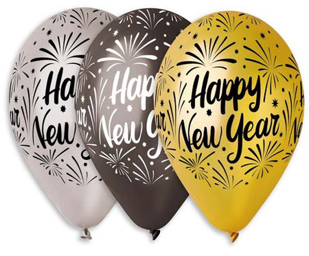 13'' Printed 'Happy New Year' assorted latex balloon (25 pcs)
