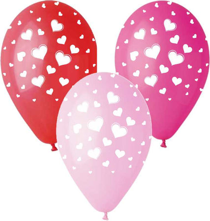 12'' Printed white hearts in 3 colors latex balloon (25 pcs)