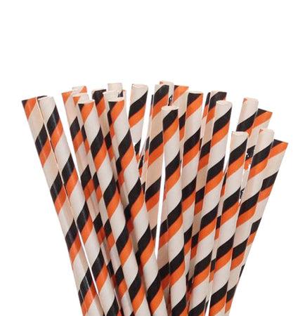 Orange - Black - White Peper Straws (25 pcs)