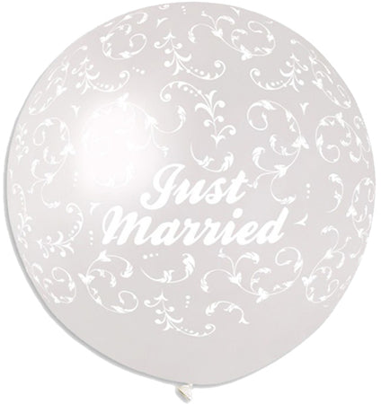 40'' Printed crystal clear 'Just Married' filigree latex balloon