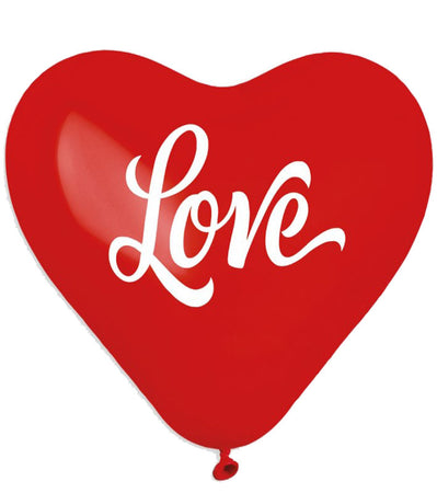 17 Printed Red Heart Love latex balloon (25 pcs)