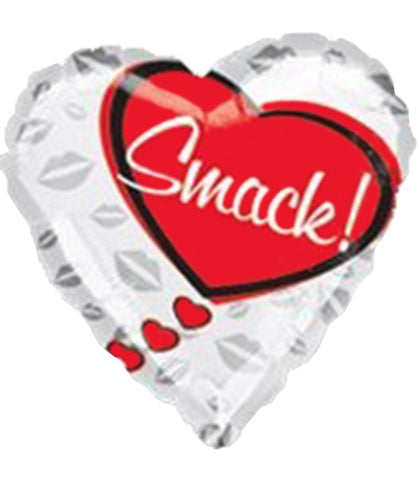 18'' White Heart Smack Foil Balloon