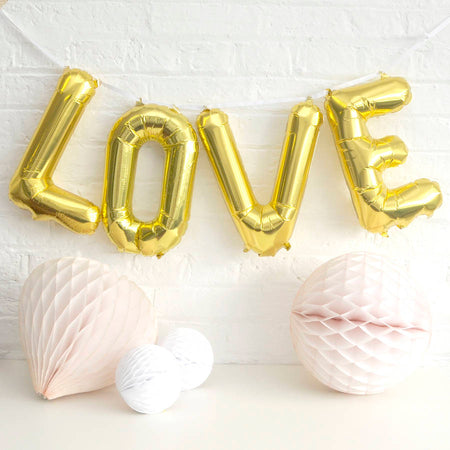 "25"" Gold 'Love' connected phrase Foil Balloon"