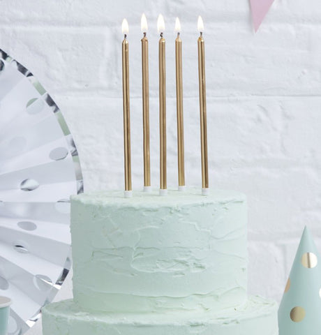 Tall gold Candles for Cake
