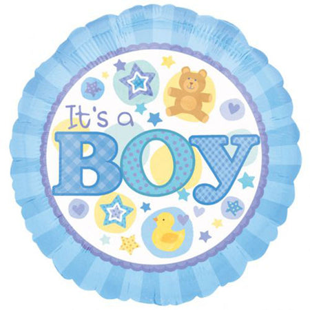 18'' Its a Boy with Teddy Bear and Duck Foil Balloon