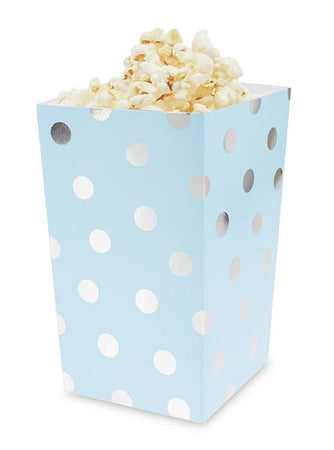 Light Blue Treat Boxes Silver dots (4 pcs)