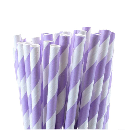 Purple - White Peper Straws (25 pcs)
