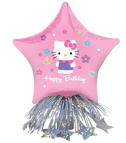 14'' Hello Kitty Happy bday Center Piece Foil Balloon and weight with ribbons
