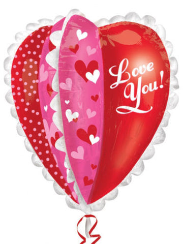 "30"" Red 3D Heart Foil Balloon"