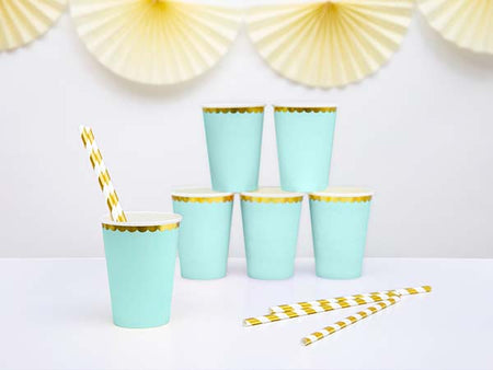 Mint with gold paper Cup (6 pcs)
