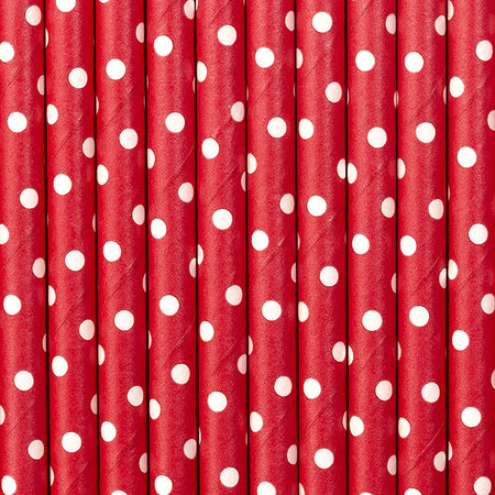 Red polka dots Paper Straws (10 pcs)