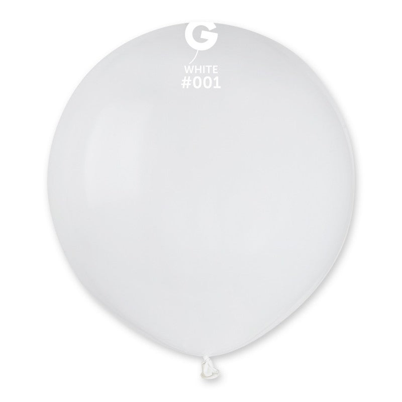 19'' White Latex Balloon (50 pieces)