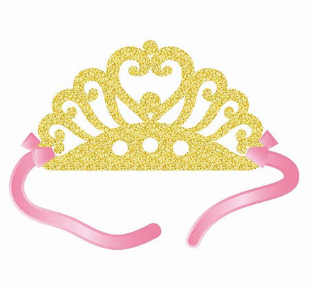 Princess glitter Tiara with ribbons (4 pcs)