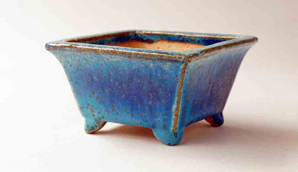 Juko Square Bonsai Pot in Blue Oribe