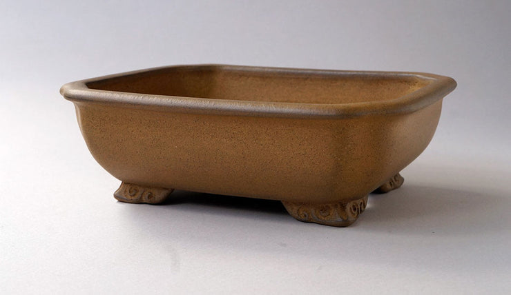 "IKKO Unglazed Bonsai Pot with Astragal in Yellow Clay 8""(20.4cm)"