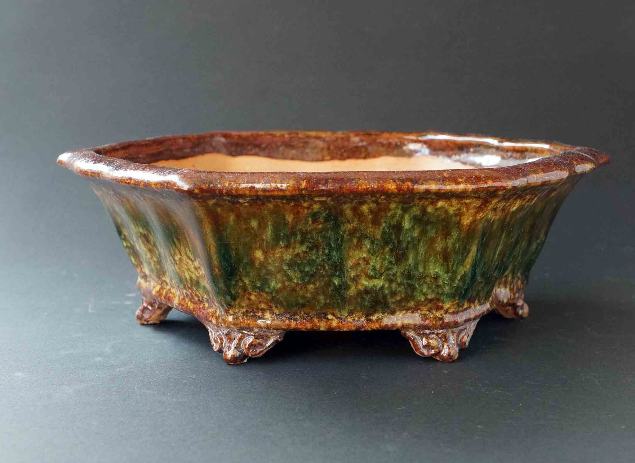 Green& Brown! Octagonal Bonsai Pot