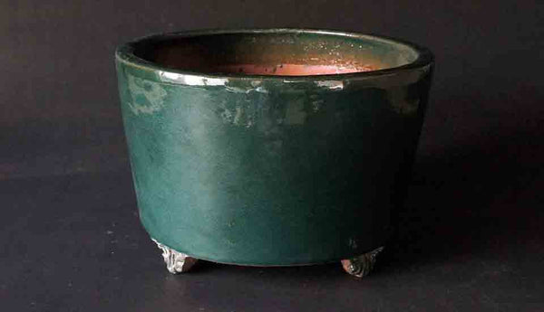 Tube Type Bonsai Pot in Deep Oribe