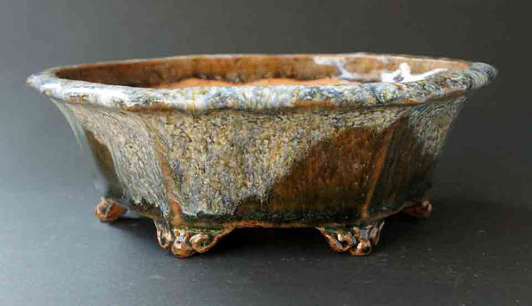 Running White Glaze! Octagonal Bonsai Pot
