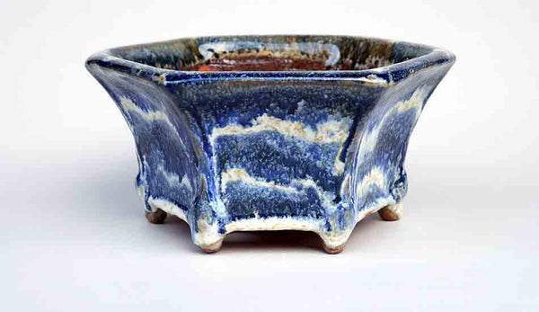 White Wave! Blue Hexagonal Bonsai Pot