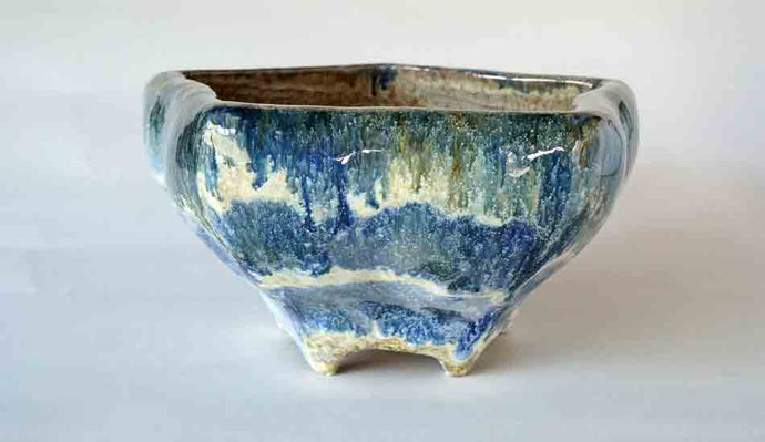 Blue & White Pentagonal Bonsai Pot