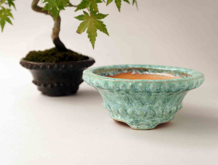 "Moss Green Rivet Bonsai Pot by Shuuhou 5.0""(13.0cm)"