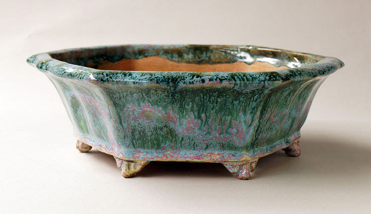 Shuuhou Octagonal Bonsai Pot in Green and Pink Glaze+++Shipping Free!