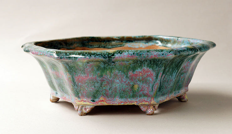 Shuuhou Hexagonal Bonsai Pot in Green and Pink Glaze+++Shipping Free!